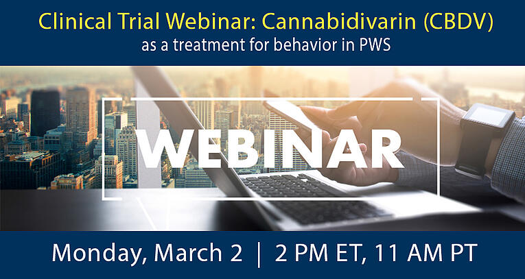 Clinical Trial Webinar: Cannabidivarin (CBDV) as a treatment for PWS