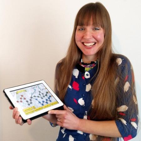 Dr. Kate Woodcock displaying TASTER video game prototype