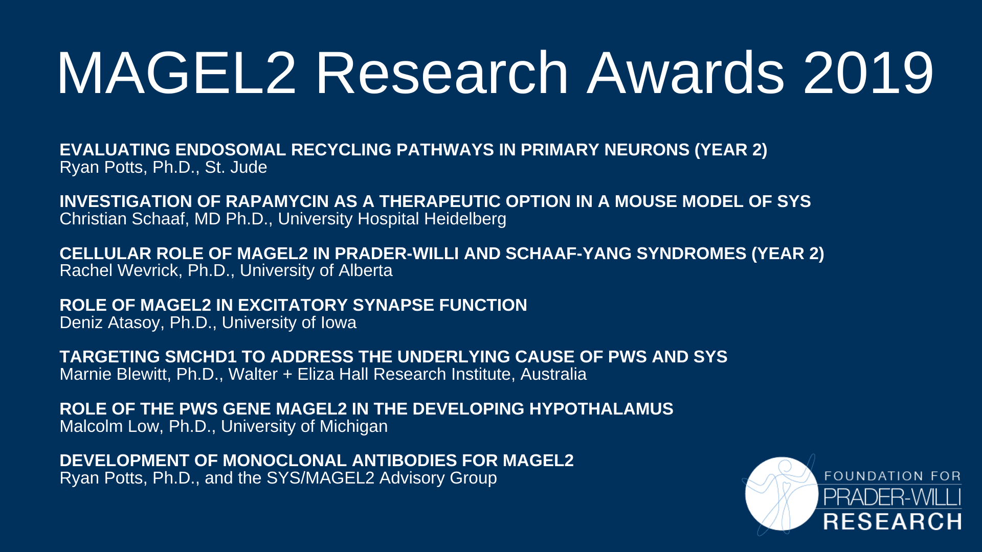2019 MAGEL2 Research Awards