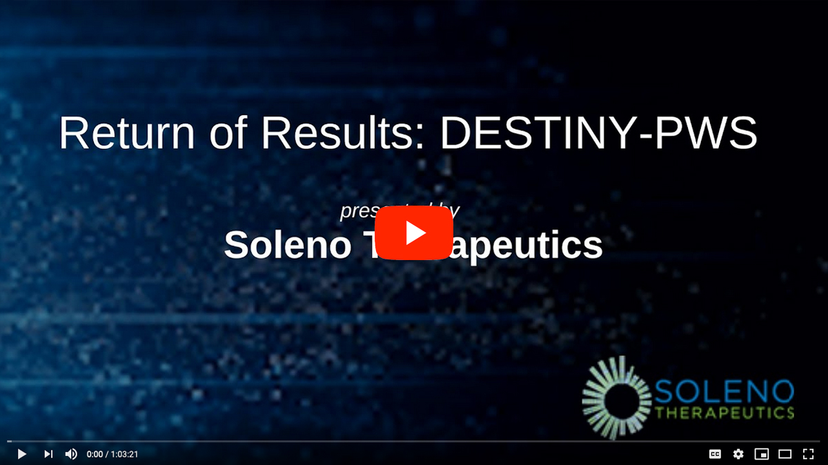 Return of Results: Destiny-PWS by Soleno Therapeutics [2020 CONFERENCE VIDEO]