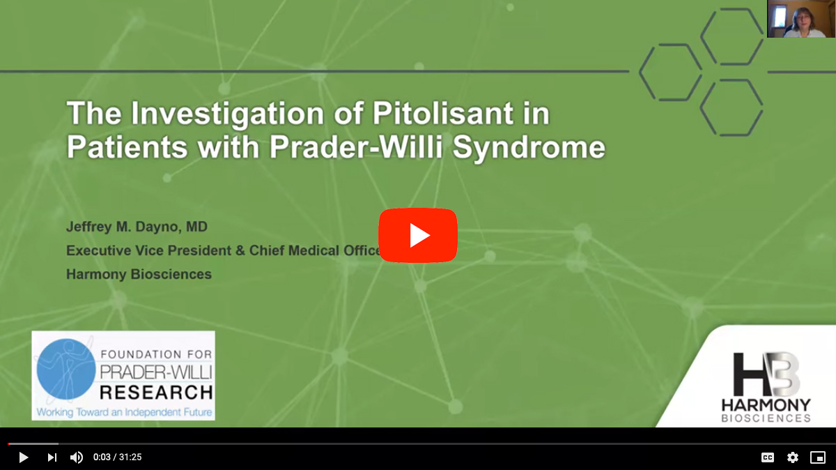 Pitolisant for Excessive Daytime Sleepiness in PWS [2020 CONFERENCE VIDEO]