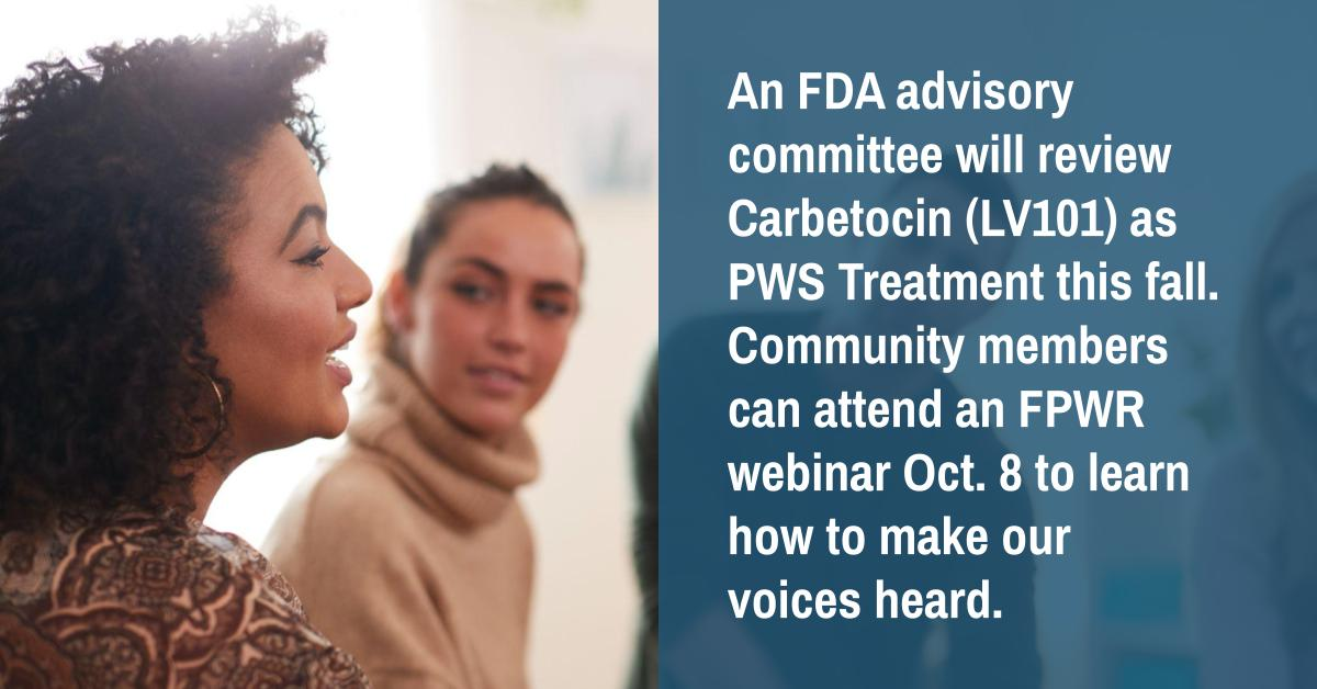 FDA Advisory Committee to Review Carbetocin (LV101) as PWS Treatment