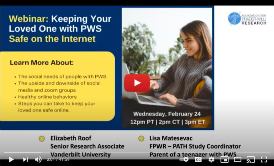 Keeping Your Loved One With PWS Safe On The Internet
