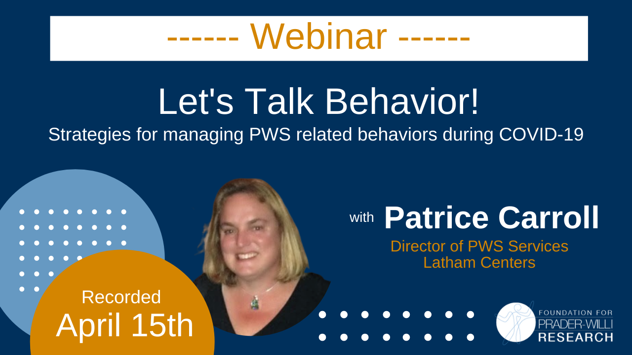 Strategies for Managing PWS Related Behaviors During COVID-19